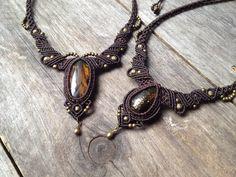 Macrame necklace amber Custom order boho por creationsmariposa
