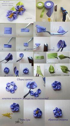 How to make kanzashi leaves (petals) I 6 Different leaves, Diy kanzashi,Tutorial Satin Ribbon Flowers, Cloth Flowers, Diy Ribbon, Ribbon Work, Ribbon Crafts, Fabric Ribbon, Flower Crafts, Fabric Flowers, Ribbon Hair