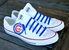Custom Hand Painted Converse Chicago Cubs on Chuck by BStreetShoes, $149.00  I am obsessed with these!