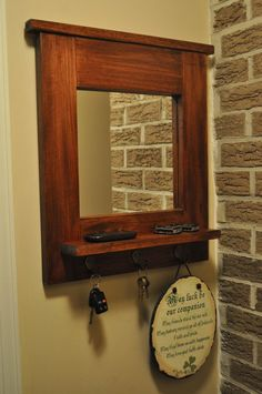 Entry Mirror with Key Hooks and Shelf