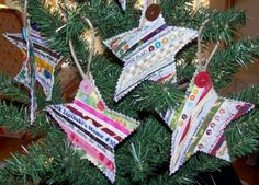 selvage star Christmas ornaments