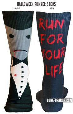 I Vant To Go For a RUN!! vampire running socks for halloween!