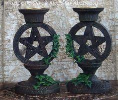 Witchcrafts Artisan Alchemy - Pentagram Taper Candle Holder Set, $23.95 (http://www.witchcraftsartisanalchemy.com/pentagram-taper-candle-holder-set/)