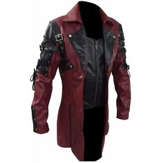 Mens Red Goth Matrix Trench Coat Steampunk Gothic Best Selling of... ($39) ❤ liked on Polyvore featuring men's fashion, men's clothing, men's outerwear and men's coats