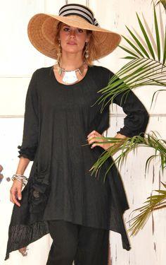 LEE ANDERSEN USA Cotton Gauze  PEYTON TUNIC Art-to-Wear Long Top 1X 2X 3X  BLACK #LEEANDERSEN #Tunic #Versatile