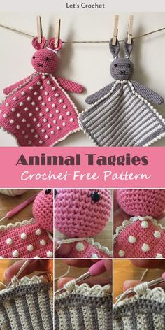 Diy Crafts - toys-Crochet A Toy Of Animal Taggy Blankets Free Pattern freecrochetpatterns toys Crochet Baby Toys, Crochet Teddy, Crochet Gifts, Crochet For Kids, Crochet Dolls, Easy Crochet, Free Crochet, Crochet Lovey Free Pattern, Crochet Blanket Patterns