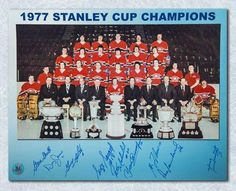 Montreal Canadiens Signed 1976-77 Stanley Cup Team 11x14 Photo - 9 Autographs #MontrealCanadiens Hockey Stanley Cup, Stanley Cup Champions, Montreal Canadiens, Canadian Hockey Players, Team Pictures, Nhl, Baseball Cards, Sports, Group Shots