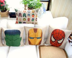 Decorative Throw Pillow Cover iron man spider man by Welovehome