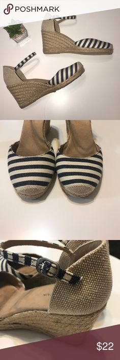 White mountain stripe espadrilles These are really cute.  Loved but lots of wear left.  They are missing a piece of rubber around the bottom in one shoe.  I didn't even know until I flipped them over for photos.  You can't tell when wearing.  Bundle for best deals.  They are a little over 3 inch heels. white mountain Shoes Espadrilles