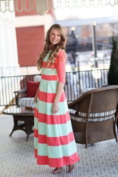 Chic Lady Dress in Coral. Perfect for Easter and Spring! Modest apparel, bridesmaid styles, ruffles and lace: www.daintyjewells.com