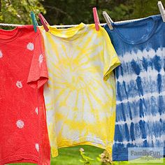 Sunburst Tie-Dye Design: This spiral pattern (shown on the yellow shirt) will have you and your kids doing the twist.