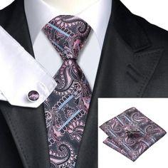 Галстук серый с розовыми и голубыми полосками - купить в Киеве и Украине по недорогой цене, интернет-магазин