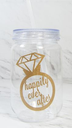 Bachelorette party favor idea - custom tumblers. Pick the design color and add a message or name to the back side. These would be so fun fill with mini bottles of booze.