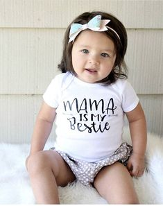 Mama is my bestie! This infant baby bodysuit makes the best pregnancy announcement or new mom gift. Want a different variation on something you see? Send me a message! Making custom requests is my favorite! All items are Newborn Photo Props, Newborn Photos, Baby Photos, Cute Baby Gifts, Best Baby Shower Gifts, Fun Pregnancy Announcement, Kids Clothing Brands, Gifts For New Moms, Toddler Gifts