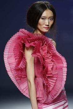 Sculptural Fashion - pink dress with circular 3D pleated construction - dramatic fabric manipulation; wearable art // Eva Soto Conde