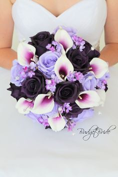 Davids Bridal Regency Purple and Iris brides bouquet with silk roses in plum, lavender and picasso calla lilies in plum with lilacs