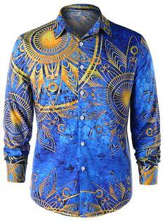 Maya Totem Printed Long Sleeve Shirt - COLORMIX XL