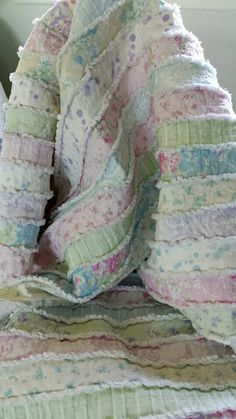 Pastel Jelly Roll Rag Quilt Vintage Fabric by by ColeesCottage