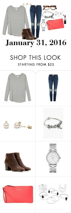 """""""January 31, 2016"""" by jennie-le on Polyvore featuring Frame Denim, Pandora, Jimmy Choo, Marc by Marc Jacobs, Kate Spade, MAC Cosmetics, women's clothing, women's fashion, women and female"""