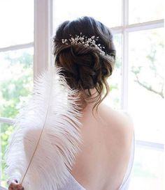 Bridal hair comb with Swarovski pearls, Pearl Bridal headpiece, Bridal hair piec… - Modern Hair Comb Wedding, Wedding Hair Pieces, Headpiece Wedding, Bridal Headpieces, Bridal Updo, Pearl Bridal, Chingon Hair, Wedding Hairstyles, Cool Hairstyles