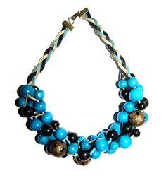 Naszyjnik Pleciony:  Drewno, Sznurek, Mosiądz #naszyjnik #necklace #jewelry #jewellery #bizuteria