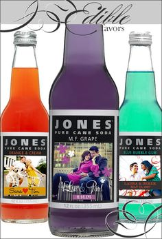 One of our top wedding picks is personalized sodas by Jones Soda. First off, they are super cute & tasty and secondly, they come in wide variety of flavors and colors to match any theme.