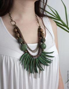 Купить Бусы этно многорядные массивные на цепочке Инара - подарок женщине девушке, крупное украшение
