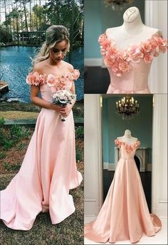 A-Line Off-the-Shoulder Sweep Train Pink Satin Sleeves Prom Dress With Flowers on Luulla Navy Evening Dresses, Green Evening Dress, Backless Prom Dresses, Prom Dresses With Sleeves, Satin Dresses, Elegant Dresses, Homecoming Dresses, Bridesmaid Dresses, Poofy Prom Dresses
