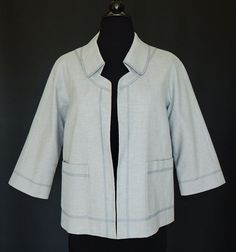 WORTH Light Gray Open Front Style Jacket w 3/4 Sleeves Lined Pockets  Size 2 #Worth #BasicJacket