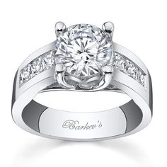 Barkev's 14K White Gold Princess Cut Channel Set Wide Diamond Engagement Ring