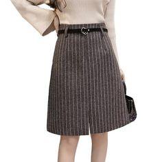 dd1b3ded1f 2018 Autumn Winter Skirts Women High Waist Office Lady Wool Skirt Plus Size  Fashion Elegant Stripe