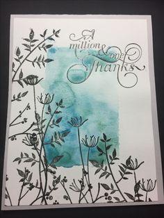 Watercolor heat emboss card