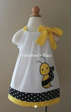 Adorable Bumble Bee pillowcase dress in a beautiful color combination. This dress would be just perfect for your bee themed birthday party. Little Dresses, Little Girl Dresses, Toddler Dress, Baby Dress, Pillowcase Dress Pattern, Baby Girl Dress Design, Girl Dress Patterns, Skirt Patterns, Blouse Patterns