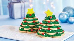 Trim these festive cookie trees with fluffy frosting and colorful sprinkles.