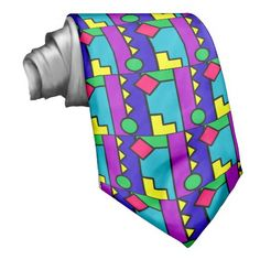 Retro 80s Color Block Neck Tie