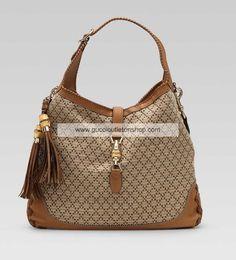 Gucci New Jackie Large Shoulder Bag Beige 218491 FQX2Z 9662