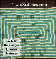 Tw-In Stitches: Wobbly Rectangles Blanket - Free Pattern | Tw-In Stitches - rectangle blanket! Ry loves this pattern.