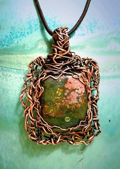 Tangled Copper Wire and Ocean Jasper Cabochon by TheDesignVineArt