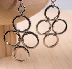 Hardware Earrings Industrial Jewelry Black and by BlackCatLinks