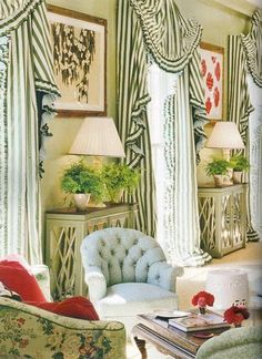Miles Redd - One of my favorite curtain treatments ever, these were inspired by Audrey Hepburn's dress in My Fair Lady.