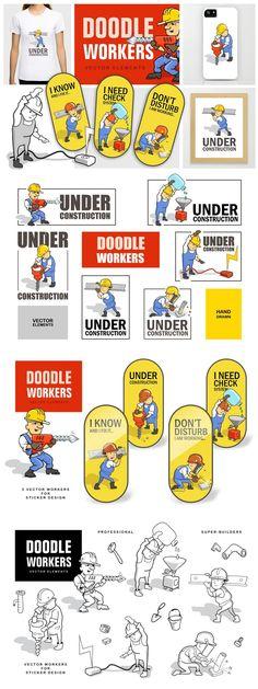 Construction Design, Construction Worker, Under Construction, Dont Disturb, Doodle People, Vector File, Sticker Design, Doodles, Draw