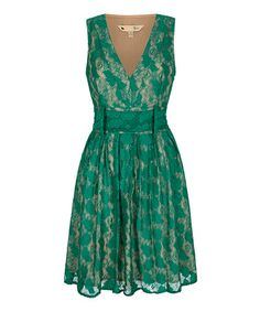 Another great find on #zulily! Green Antique Lace Sleeveless Dress #zulilyfinds