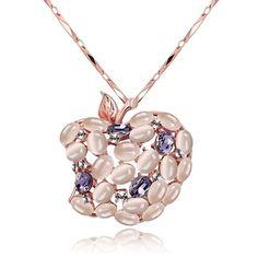 Luxury Handmade Opal Crystal Apple Pendant Rose Gold Long Sweater Chain Necklace #bona #Charm