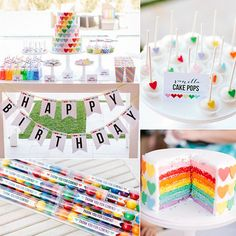 Kim Stoegbauer of The TomKat Studio has thrown some of our favorite kid parties ever (remember her mermaid-themed fifth birthday party for her daughter, Kate?). Kate just turned 6, and she celebrated the milestone with a party that was all about her two favorite things: rainbows and hearts!  Kim incorporated the theme throughout the outdoor party (beautifully photographed by Rennai of ten 22 studio) with sweet treats including an amazing cake featuring rainbows inside and ...