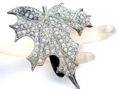Art Deco Fur Clip Pot Metal Clear Rhinestone Leaf