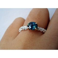 9ct White Gold Encrusted Sapphire Solitaire | Michelle Oh