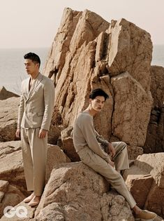 Kim Wonjoong and Park Jaegeun in GQ, February One Fine Day Portrait Photography Men, Photography Poses For Men, Fashion Photography Inspiration, Photoshoot Inspiration, Editorial Photography, Beach Editorial, Editorial Fashion, Gq, Ästhetisches Design