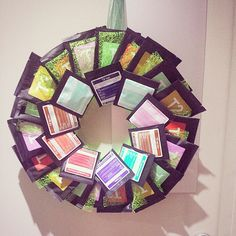 Teabag wreath, based on a polystyrene wreath using individual teabags Wreaths, Instagram Posts, Christmas, Crafts, Home Decor, Yule, Navidad, Manualidades, Decoration Home