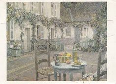 Binnenplaats op een zomeravond in Gerberoy uit 1923; deze afbeelding kocht ik op de Sidaner tentoonstelling. De titel van het schilderij is Huis met de blauwe tafel en is een van de pronkstukken van het Singel Museum