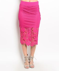 Look at this Fuchsia Floral Crochet Pencil Skirt on #zulily today!